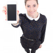 Funny beautiful business woman showing mobile phone with blank s — Stock Photo