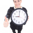 Funny beautiful business woman showing clock and thumbs up isola — Stock Photo