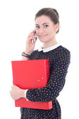 Young beautiful business woman in black dress with blue folder t — Stock Photo