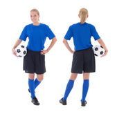 Female soccer player in blue uniform isolated on white, front an — Stock Photo