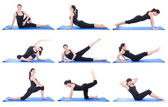 Collection of a beautiful girl doing fitness isolated on white — Stock Photo