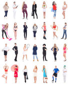 Collection of different women isolated on white — Stock Photo