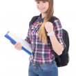 Portrait of cute teenage girl with backpack isolated on white — Stock Photo