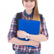 Cute teenage girl with backpack and folder isolated on white — Stock Photo