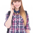 Cute teenage girl with mobile phone isolated on white — Stock Photo #45147209