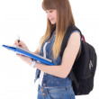 Cute teenage girl with notebook and backpack isolated on white — Stock Photo