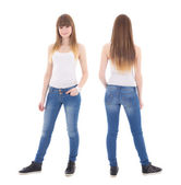 Front and back view of cute teenage girl in white t-shirt isolat — Stock Photo