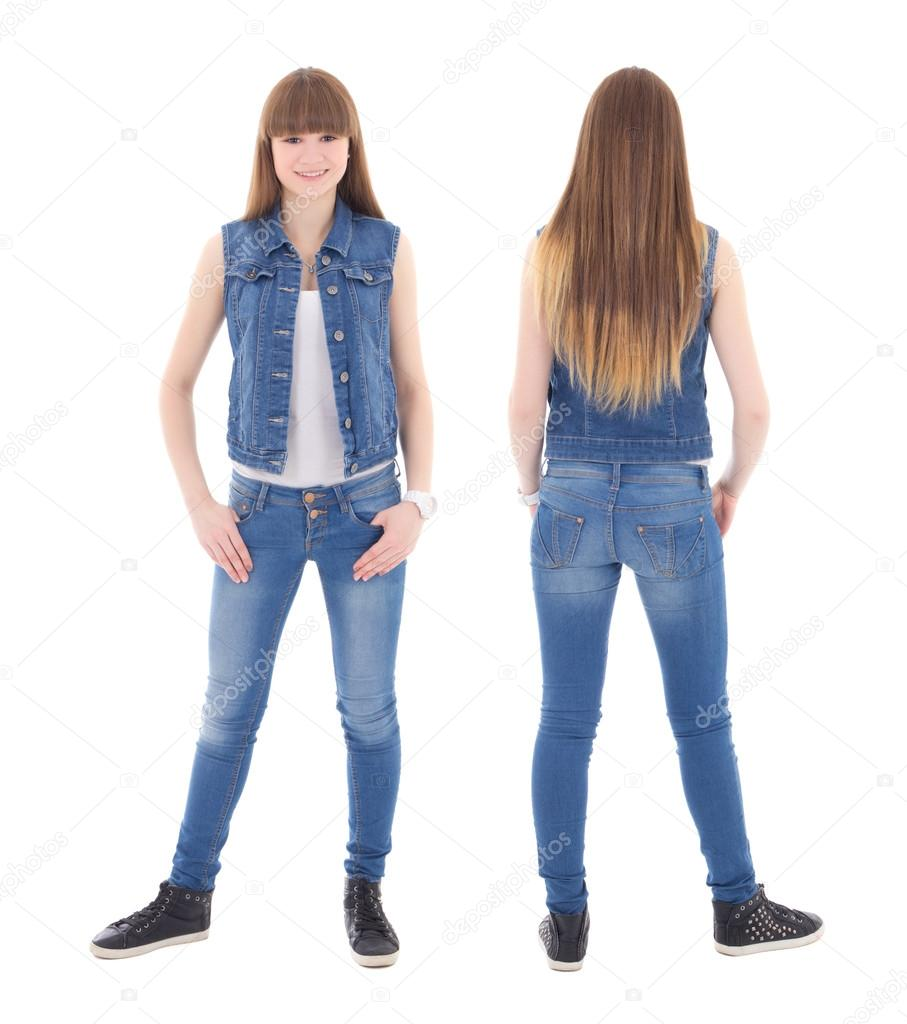 front and back view of cute teenage girl in jeans clothes isolat