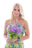 Beautiful blond in dress with summer flowers isolated on white — Stock fotografie