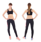 Front and back view of young woman in sports wear isolated on wh — Stock Photo
