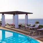 Swimming pool with beautiful sea view on Crete island — Stock Photo #51642425