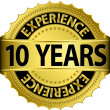 Stockvector : 10 years experience golden label with ribbon, vector illustration