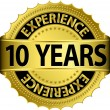 10 years experience golden label with ribbon, vector illustration — Vector de stock #13840851