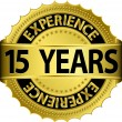 15 years experience golden label with ribbon, vector illustration — Vector de stock #13840852