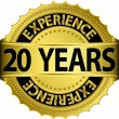 20 years experience golden label with ribbon, vector illustration — Vector de stock #13840853