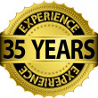 35 years experience golden label with ribbon, vector illustration — Vector de stock #13840857