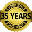 35 years experience golden label with ribbon, vector illustration — Imagen vectorial