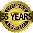 55 years experience golden label with ribbon, vector illustration — Stock Vector