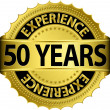 50 years experience golden label with ribbon, vector illustration — Imagen vectorial