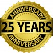 25 years anniversary goldhn label with ribbon, vector illustration — Vector de stock #13840887