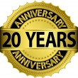 20 years anniversary goldhn label with ribbon, vector illustration — Vector de stock #13840888