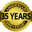 35 years anniversary goldhn label with ribbon, vector illustration - Stock Vector