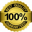 Best quality 100 percent guaranteed golden label, vector illustration - Stock Vector