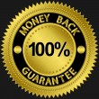 100 percent money back guarantee golden sign, vector illustration — Vector de stock