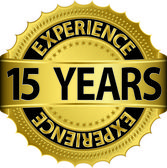 15 years experience golden label with ribbon, vector illustration — Vector de stock