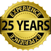 25 years experience golden label with ribbon, vector illustration — Vector de stock