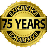 75 years experience golden label with ribbon, vector illustration — Stock Vector