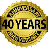 40 years anniversary goldhn label with ribbon, vector illustration — Vector de stock