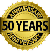 50 years anniversary goldhn label with ribbon, vector illustration — Vettoriale Stock