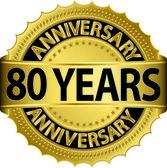 80 ans anniversaire goldhn étiquette avec ruban, illustration vectorielle — Vecteur