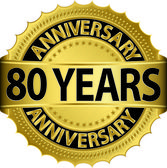 80 years anniversary goldhn label with ribbon, vector illustration — Vetorial Stock