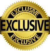 Golden exclusive label, vector illustration — Stock Vector