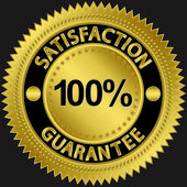 100 percent satisfaction guarantee golden sign with ribbon, vector illustration — Stock Vector