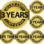 Garantia ouro rótulo conjunto, ilustração vetorial — Vetorial Stock