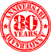 Grunge 80 years happy birthday rubber stamp, vector illustration — Stock Photo