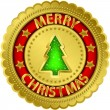 Merry christmas golden label, vector illustration — Vector de stock #15735587