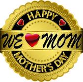 Happy mother's day golden label, vector illustration — Stock Vector