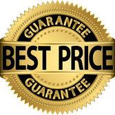 Best price guarantee golden label, vector illustration — Stock Vector