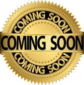 Prossimo etichetta presto dorata, illustrazione vettoriale — Vettoriale Stock
