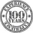 Grunge 100 years of experience rubber stamp, vector illustration — Stock Vector