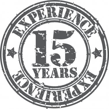Grunge 15 years of experience rubber stamp, vector illustration