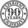 Grunge 90 years of experience rubber stamp, vector illustration — Stock Vector