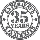 Grunge 35 years of experience rubber stamp, vector illustration — Stock Vector