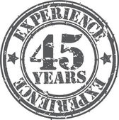 Grunge 45 years of experience rubber stamp, vector illustration — Stock Vector
