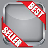 Blank app icon with best seller ribbon, vector illustration — Stockvector