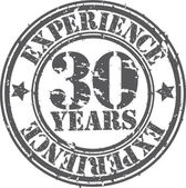Grunge 30 years of experience rubber stamp, vector illustration — Stock Vector